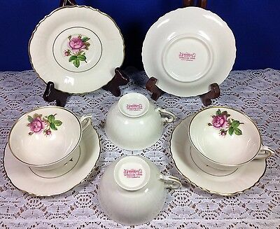 Syracuse China Rosalie Federal Shape Cups and Saucers Set of 4