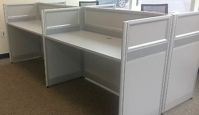Office Cubicles Workstation Cluster of 4 with Privacy Panels