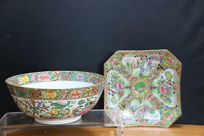 Two fine and Old Chinese Rose Medallion porcelain Bowl and Plate.