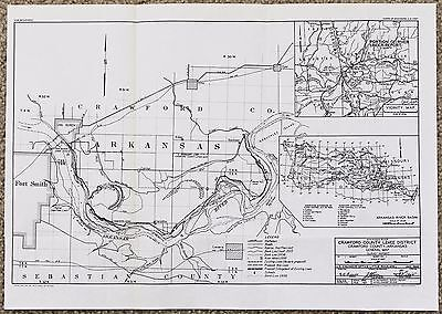 1940 Fort Smith Arkansas Map Levee District Railroads WAR DEPTartment Original