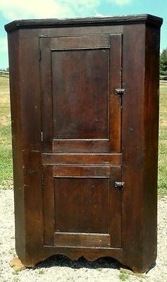 Early Antique Walnut Blind Door Corner Cupboard 1 Piece Circa 1840 Primitive