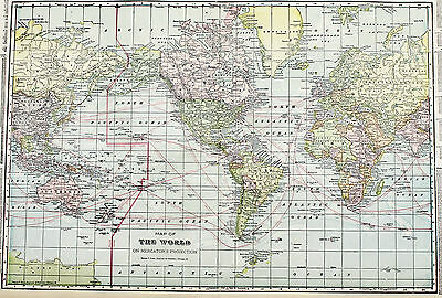1915 World Map Steamer Routes Times Railroad Mileage Chart Original