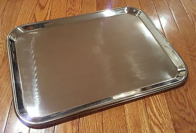"Large Instrument Tray Stainless Steel Tattoo/Piercing Medical Dental 19"" x 12"""