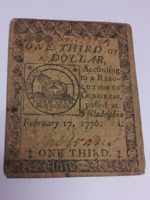 Continental Currency Paper Money Note February 17th 1776 1/3 One Third Dollar