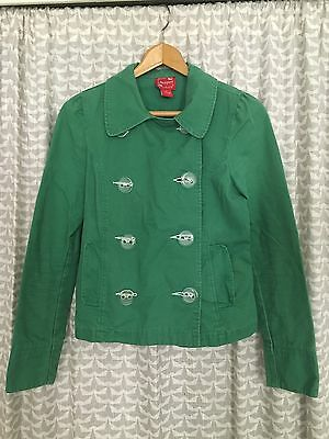 Periscope Double Breasted Kelly Green Cotton Jacket Women's Size Medium