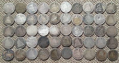 50 low grade Seated Liberty Dimes - Lot 3