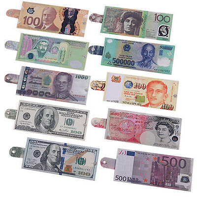 Unisex Mens Womens Funny Designer Currency Notes Pound Dollar Euro Wallet Purse