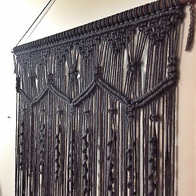 CHARCOAL Macrame Wall Hanging 60x80cm Art Handmade Boho Decor Spell Gypsy