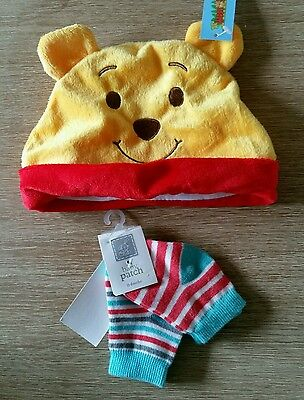 PUMPKIN PATCH Baby Boys 2pk Newborn - 6 Months Socks + Winnie Pooh Hat with ears