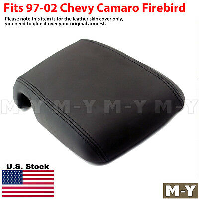 Fits 97-02 Chevy Camaro Firebird Leather Center Console Lid Armrest Cover Black