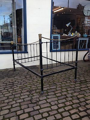 Brass Bed / Antique / Single / Head Foot And Rails / Original