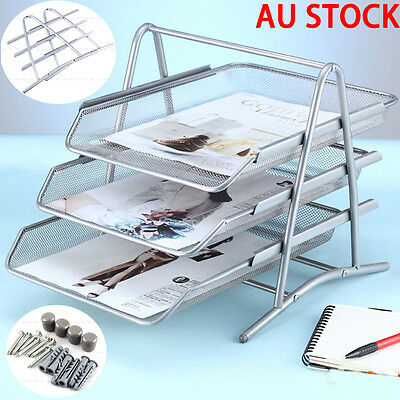 Metal A4 Paper Desk Document File Paper Mesh Tray Organiser Holder Silver AU