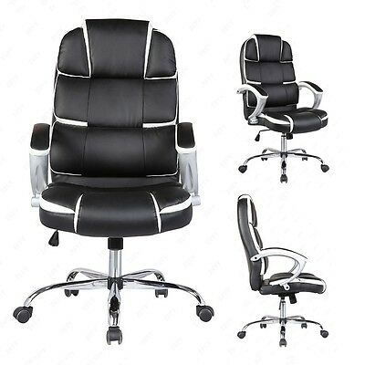Black Executive High Back Office Chair PU Leather Computer Desk Task Ergonomic