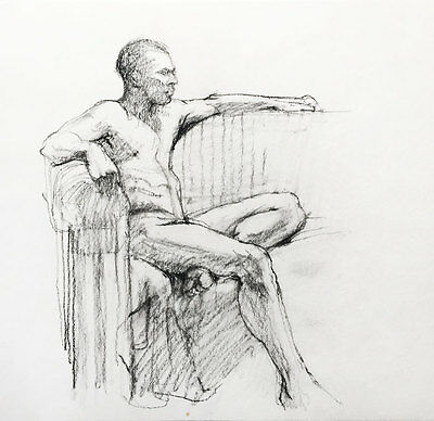 Original signed charcoal drawing of a male nude, award-winning Melbourne artist