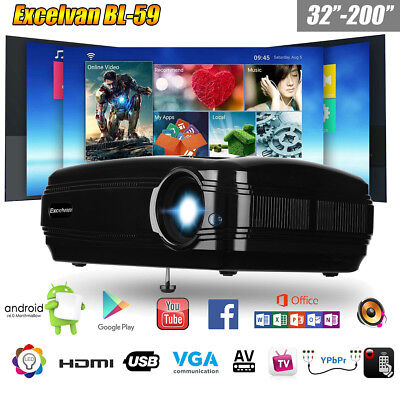 Kabellos WIFI LED 1080P HD Heimkino Beamer Projektor Movie HDMI/USB/VGA/TV/YPBPR