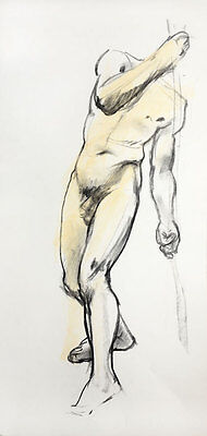Original signed charcoal and pastel drawing of a male nude torso