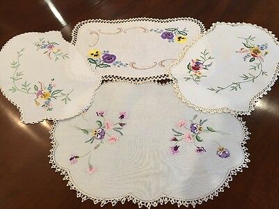 Vintage Hand Embroidered Pansies Centrepiece Collection