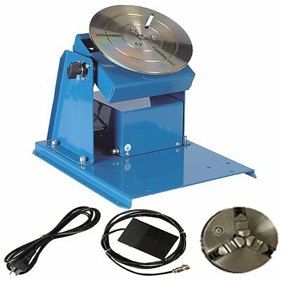110V 2-20RPM Rotary Welding Positioner Turntable Table Jaw Lathe Chuck + Pedal