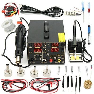 110V 4 In1 909D+ Rework Soldering Station Iron Hot Heat Air Gun USB Power Supply