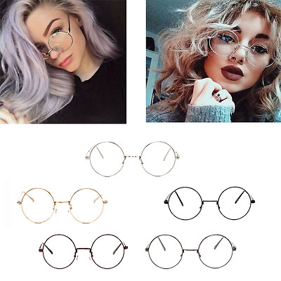 Big Round Metal Frame Glasses With Clear Lens Vintage Retro Geek Fashion Glasses