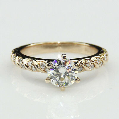 1ct Round Esdomera Moissanite Rope Style Accents 14k Yellow Gold Engagament Ring