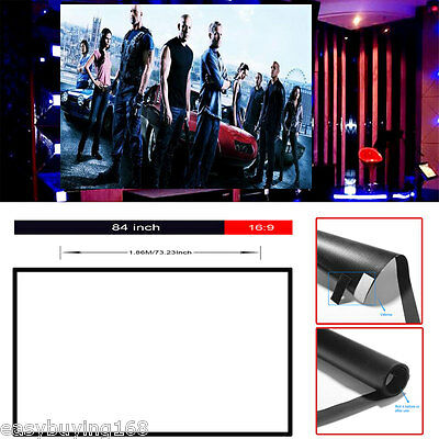 """Portable 84"""" inch 16:9 Fabric Matte Projector Projection Screen Cinema Theater"""