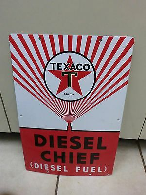Porcelain Texaco Gas/Gasoline Sign Wide Spray Diesel Chief
