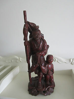 Carved Wood Oriental Fisherman Inset Eyes ,  10 Inches High N/r
