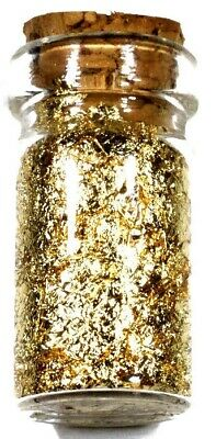 (5) .5 Ml Glass Jars Of 24K Gold Leaf Flakes Lot X 5 Free Shipping