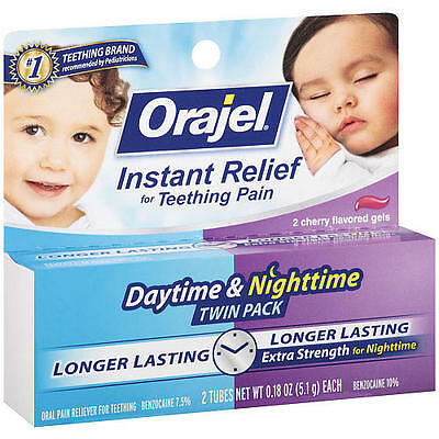 Orajel Daytime/Nighttime Twin Teething Pain Relief Medicine 0.18oz (5.1g) each