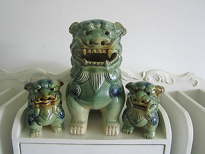 Set Of 3 Chinese Foo Dogs , N/r