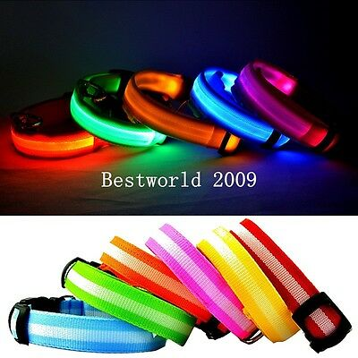 Neuf LED Collier Chien D'animal Familier Clignotant Lumineux Réglable Protection