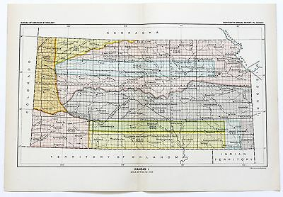 1899 KANSAS Ceded Indian Land Native American Territory Cessions Original Map