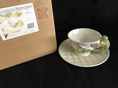 Unusual Rare  Tea Cup & Saucer with HummingBird on Handle New Gorgeous LOOK!!