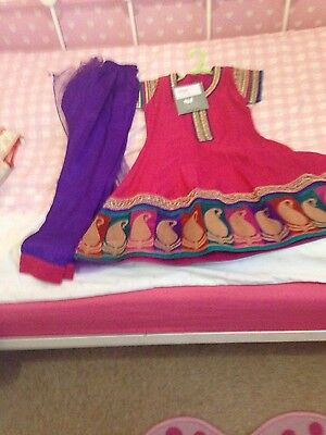 Girls indian suit age 4/5 purple and pink