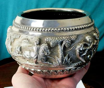 Antique Solid Silver Anglo Indian Bowl Nice Highly Embossed