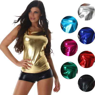 Wetlook Glossy GoGo Tanktop Top Glanz Metallic Racerback 38 40 42 44 46 M L XL