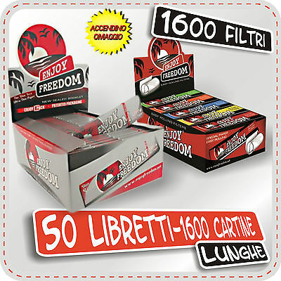 1600 Cartine + Filtri Carta Enjoy Freedom Silver Slim Lunghe 50 Libretti 1 Box