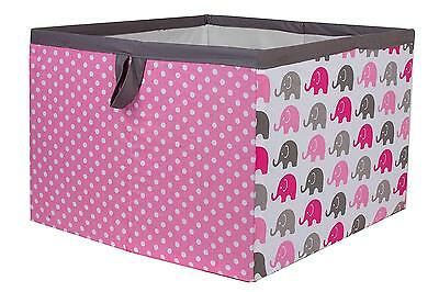 Bacati Elephants Storage Box Large Organizer Storage Nursery Baby Toys Girl New
