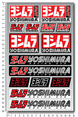 Yoshimura exhaust sponsor motorcycle decal set 15 stickers fairing suzuki honda