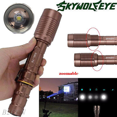 Sky Wolf Eye Tactical 4000LM 18650 Zoomable CREE XMLT6 LED Flashlight Torch Lamp