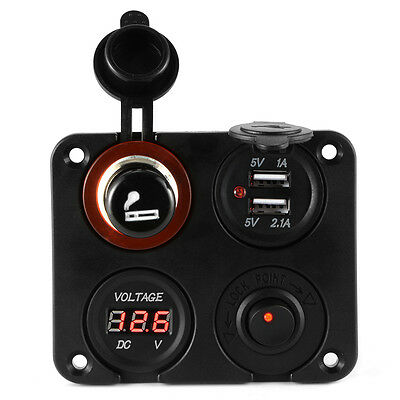 4in1 Car Cigarette Lighter Socket + Dual USB Charger + Voltmeter + Switch MA1064