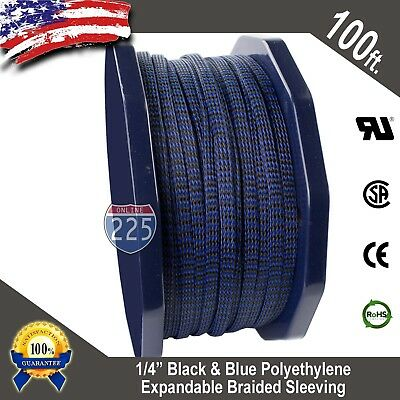 "100 FT 1/4"" Blue & Black Expandable Wire Sleeving Sheathing Braided Loom Tubing"