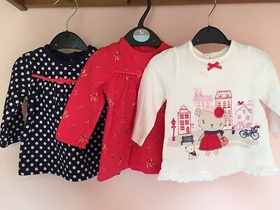 George baby girl tops 3-6 months x3 long sleeve