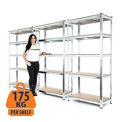 3-Bay Galvanised Shelving 5Tier Garage Unit Storage Racking Heavy Duty Shelves