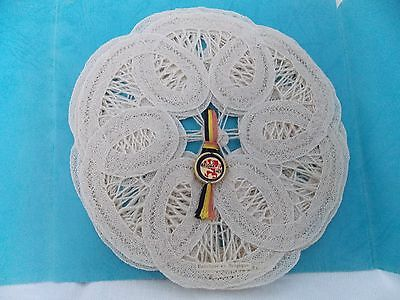 """Vintage Belgium Lace 5 Doilies from """"The Little Lace Shop"""" from Bruges Belgium"""
