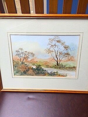 Original signed and framed watercolour painting. Autumn landscape.