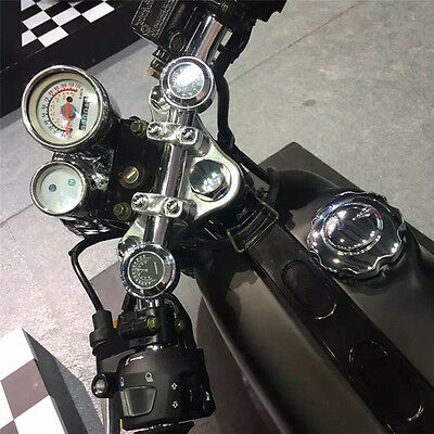 White&Black Motorcycle Dial Clock Thermometer Handlebar Temp for Harley Davidson