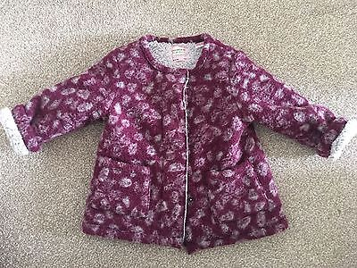 Zara Girls 18-24 Maroon Leopard Months Wool Coat