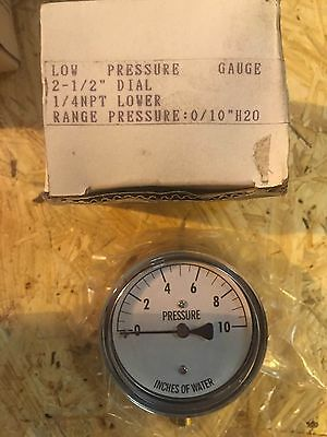 """New in Box, Low Pressure Gauge 0-10 in.H2O 1/4""""NPT Brass, 2-1/2"""" Dial"""